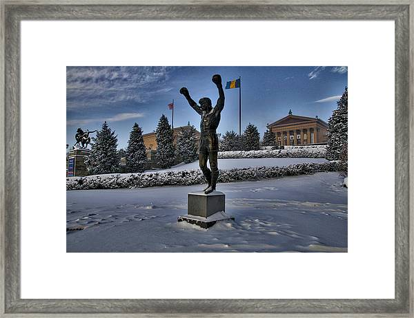Rocky In The Snow Framed Print