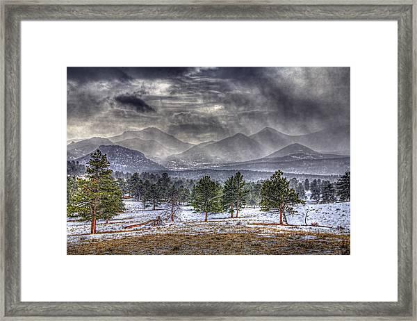 Rocky Mountain Snow Storm Estes Park Colorado Framed Print
