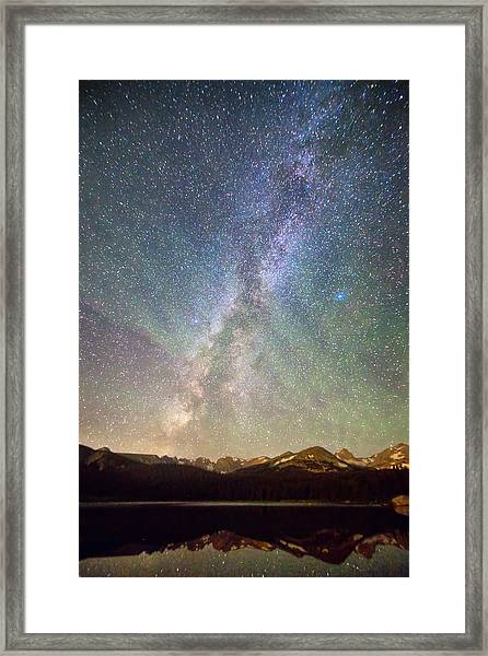 Rocky Mountains Indian Peaks Milky Way Rising Framed Print