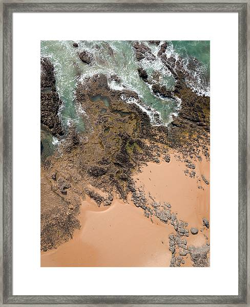 Rocky Shoreline Abstract Cape Woolamai Framed Print
