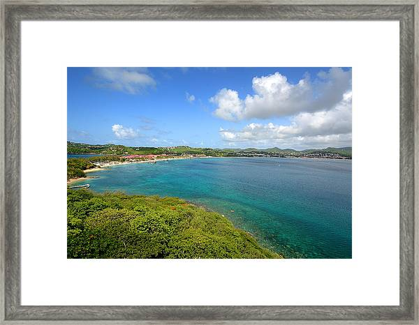 Rodney Bay Viewed From Fort Rodney - St. Lucia Framed Print by Brendan Reals