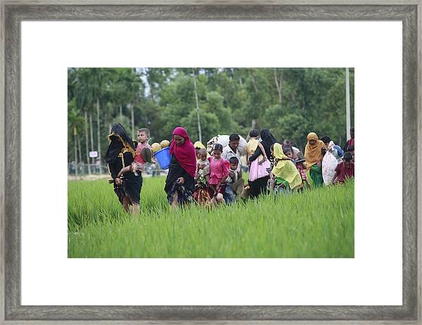 Rohingya Muslims Flee Violence In Myanmar Framed Print by Suvra Kanti Das