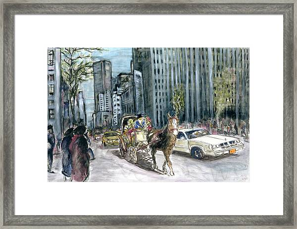 New York 5th Avenue Ride - Fine Art Painting Framed Print