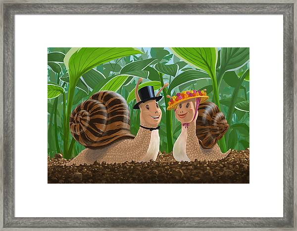 Romantic Snails On A Date Framed Print
