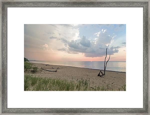 Romantic Sunset At Agate Beach Framed Print