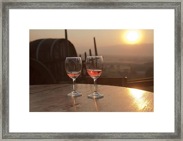 Romantic Sunset With A Glass Of Wine Framed Print