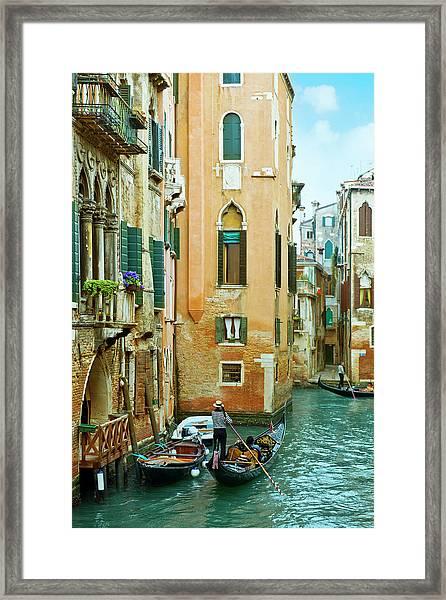 Romantic Venice Views From Gondola Framed Print