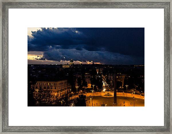 Rome Cityscape At Night  Framed Print