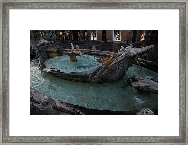 Rome's Fabulous Fountains - Fontana Della Barcaccia At The Spanish Steps  Framed Print
