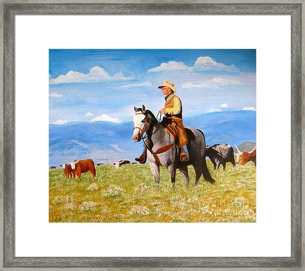 Ron And  Cash At Work Framed Print
