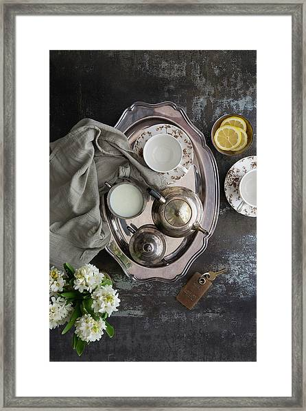 Room Service, Tea Tray With Milk And Framed Print