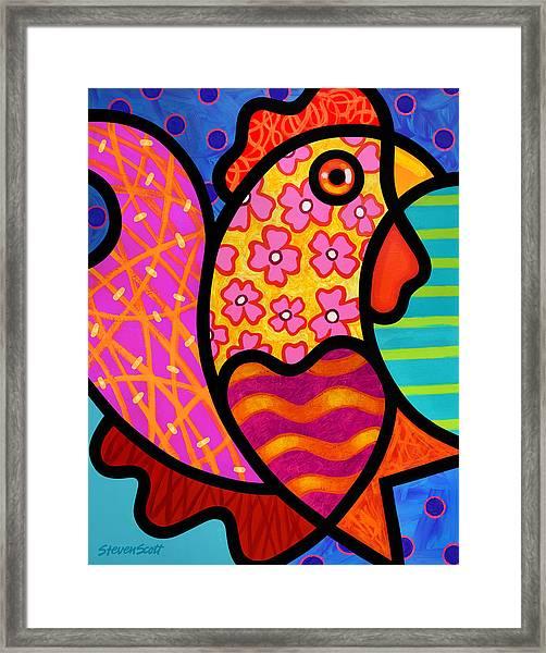 Rooster Dance Framed Print