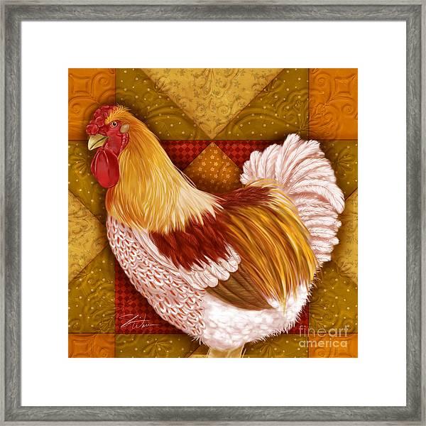 Rooster On A Quilt I Framed Print
