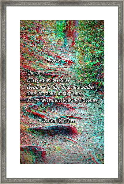 Roots - Use Red/cyan Filtered 3d Glasses Framed Print