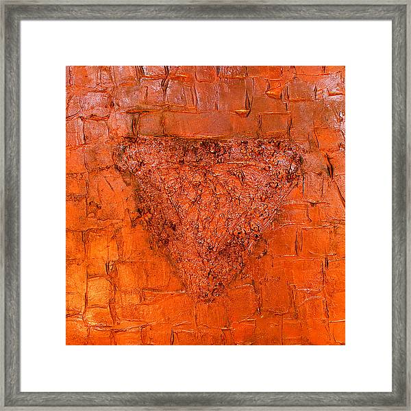 Rose Gold Mixed Media Triptych Part 3 Framed Print