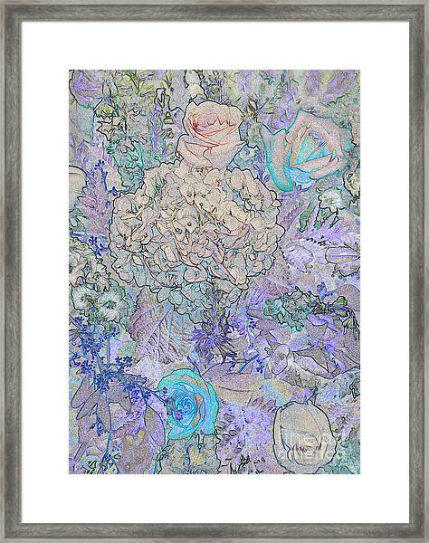 Framed Print featuring the digital art Rose Tapestry  by Mae Wertz