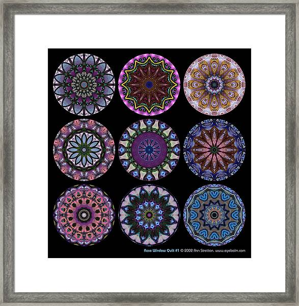 Rose Window Quilt 1 Framed Print