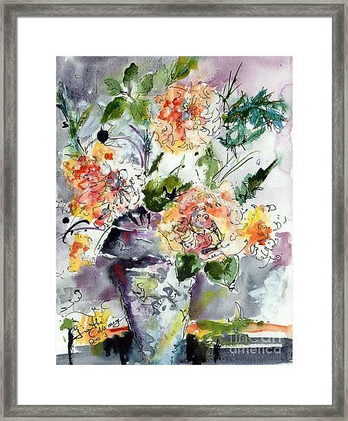 Roses Impressionists Heirloom Watercolor Still Life  Framed Print