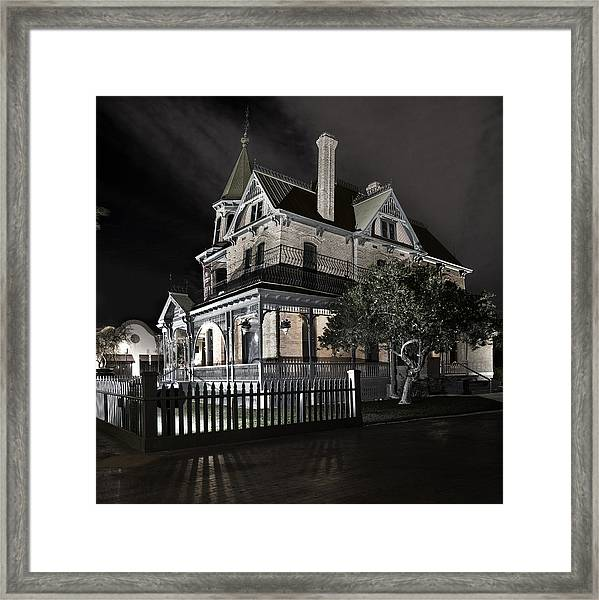 Rosson House Haunted Black And White Framed Print