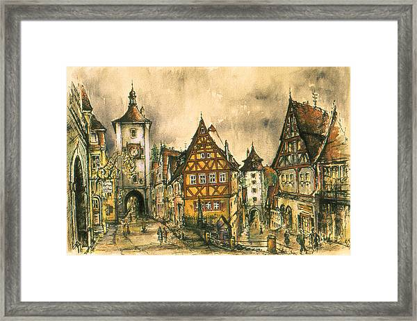 Rothenburg Bavaria Germany - Romantic Watercolor Framed Print