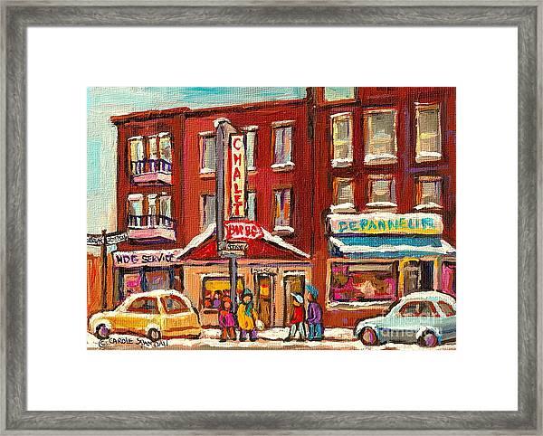 Rotisserie Le Chalet Bar B Q Sherbrooke West Montreal Winter City Scene Framed Print