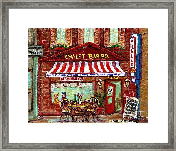 Rotisserie Le Chalet Bbq Restaurant Paintings Storefronts Street Scenes Diners Montreal Art Cspandau Framed Print