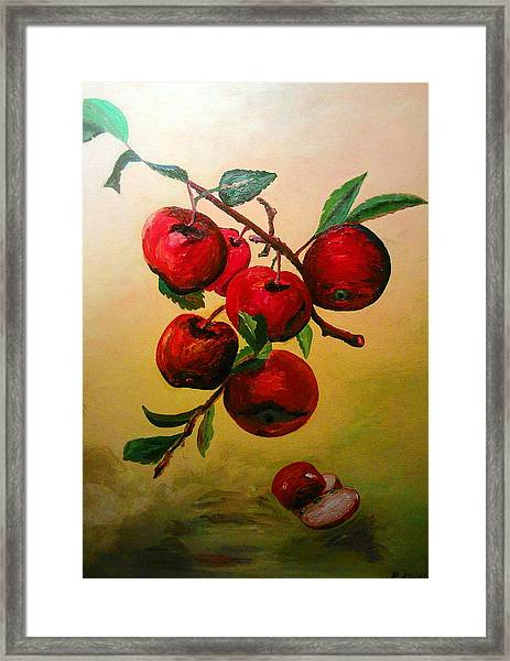Framed Print featuring the painting Rough Apples by Ray Khalife