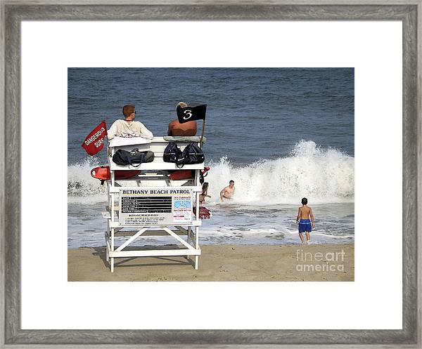 Rough Water At Bethany Beach In Delaware  Framed Print