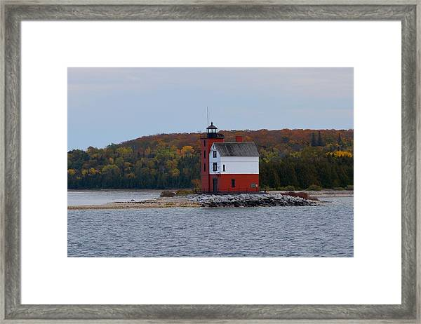 Round Island Lighthouse In Autumn Framed Print