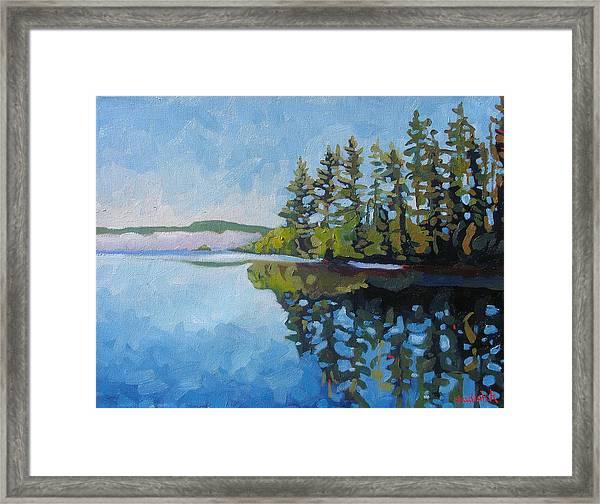 Round Lake Mirror Framed Print