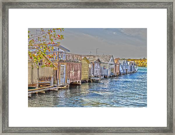 Row Of Boathouses Framed Print