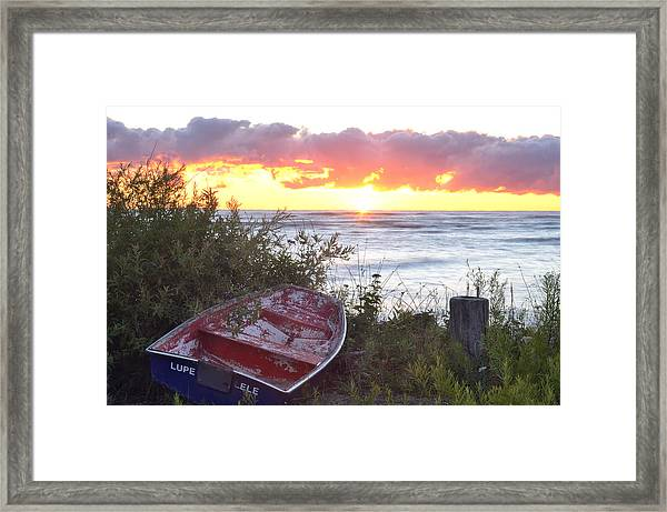 Rowboat At Sunrise Framed Print