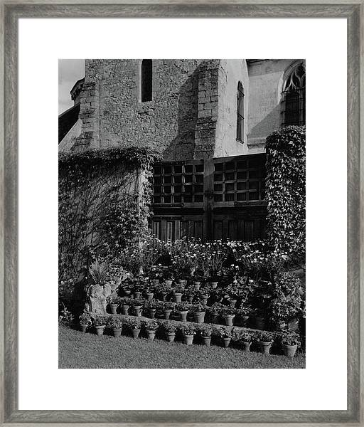Rows Of Pot Plants Lined On The Steps Of A Garden Framed Print