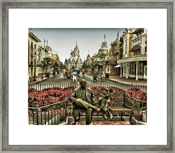 Roy And Minnie Mouse Antique Style Walt Disney World Framed Print