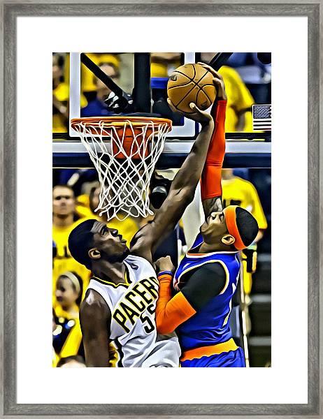 Roy Hibbert Vs Carmelo Anthony Framed Print