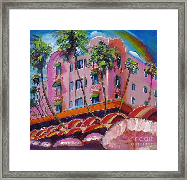 Royal Hawaiian Hotel Framed Print by Donna Chaasadah