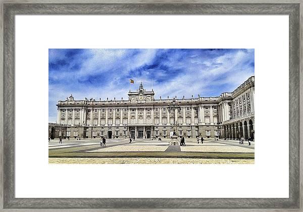 Royal Palace Of Madrid Against Cloudy Sky Framed Print by Peter Lammertzen / EyeEm