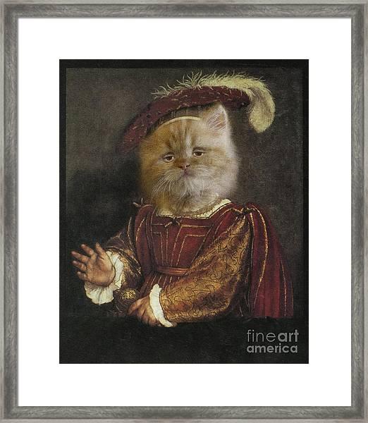 Royal Prince Kitty Human Body Animal Head Portrait Framed Print by Jolanta Meskauskiene