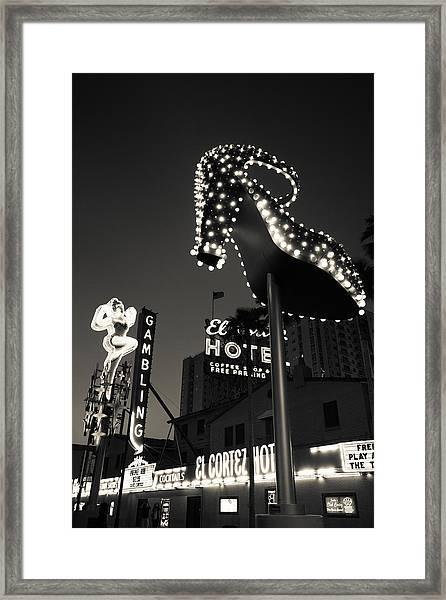 Ruby Slipper Neon Sign Lit Up At Dusk Framed Print