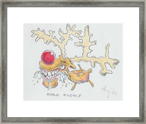 Rudolph The Reindeer Cartoon Framed Print