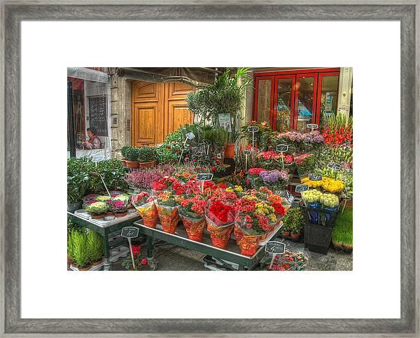 Rue Cler Flower Shop Framed Print