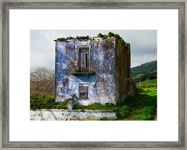 Ruins Of House Painted Blue Framed Print
