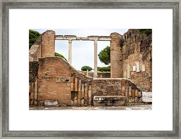 Ruins Of Ostia Antica Framed Print