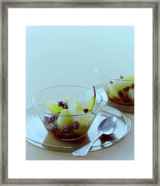 Rum Raisin Poached Pears Framed Print