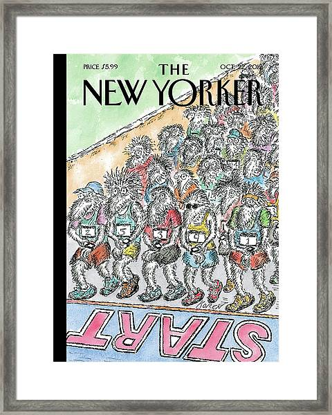 Runners Gather At The Starting Line Framed Print
