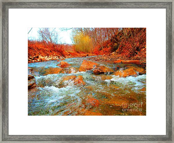 Running Creek 2 By Christopher Shellhammer Framed Print