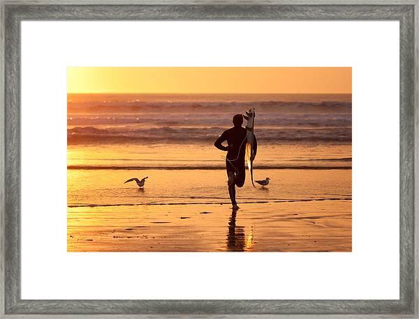 Running To Surf Framed Print