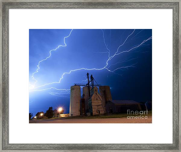 Rural Lightning Storm Framed Print