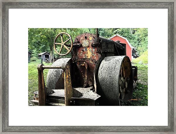 Rusted Buffalo Springfield Roller - Red Barn Framed Print