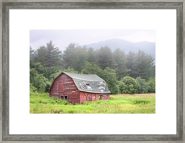 Rustic Landscape - Red Barn - Old Barn And Mountains Framed Print